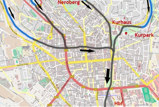 Im Detail: Kanalnetz unter der Wiesbadener Innenstadt (Karte: openstreetmap.org)