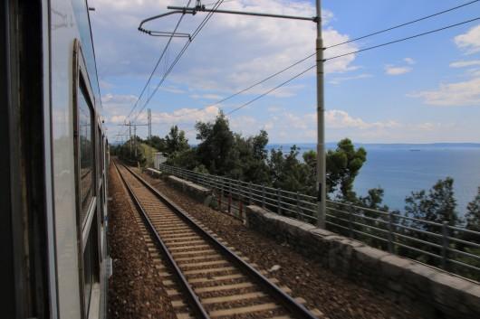 Auf dem Weg von Venedig nach Triest im InterRegio.