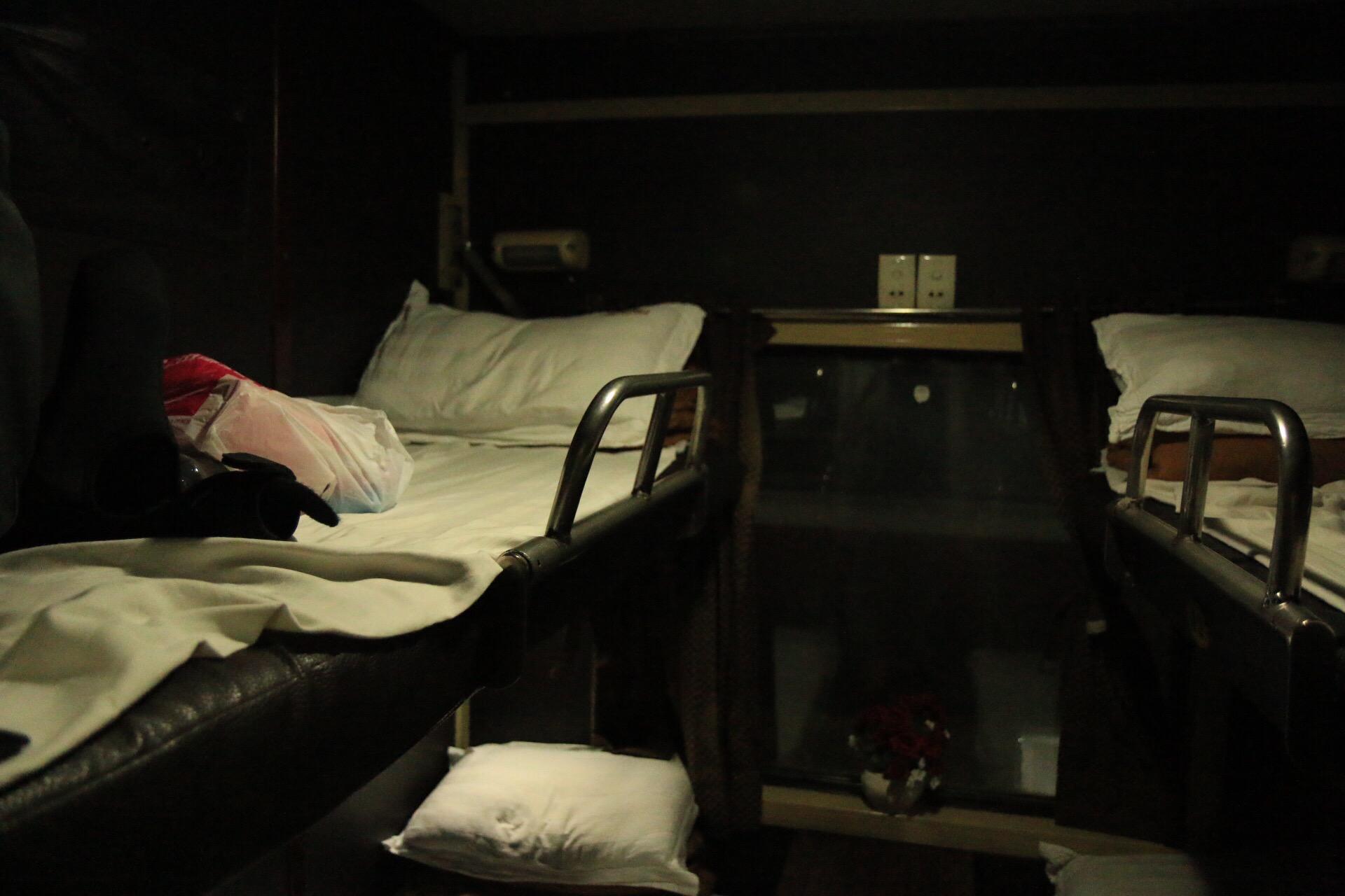 Mein 4er-Abteil im Nachtzug. Ich hatte das obere Bett gebucht.