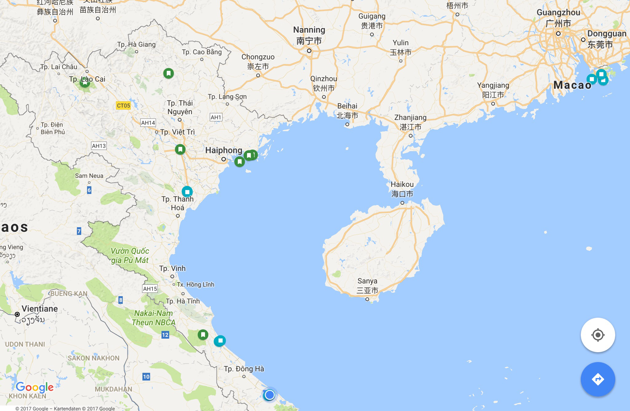 Die Stationen im Norden Vietnams - Sapa ist ganz im Nordwesten.