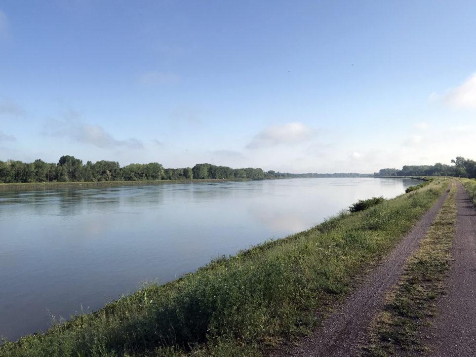 Am frühen Morgen auf den Rheindämmen nördlich von Kehl.