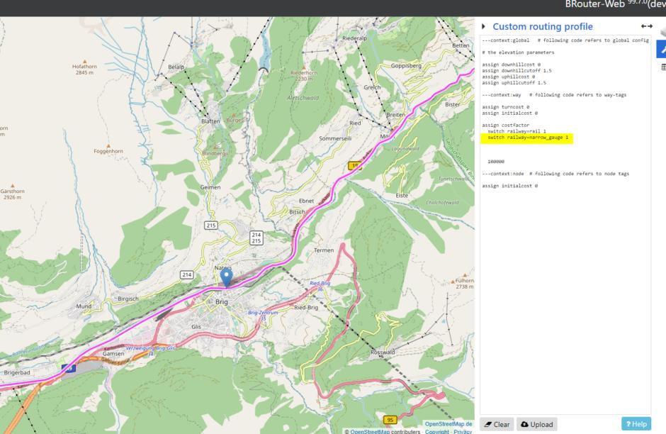 Von Brig (CH) nach Chur fährt mit der Matterhorn-Gotthardt-Bahn eine Schmalspurbahn. Diese muss man zusätzlich freigeben.