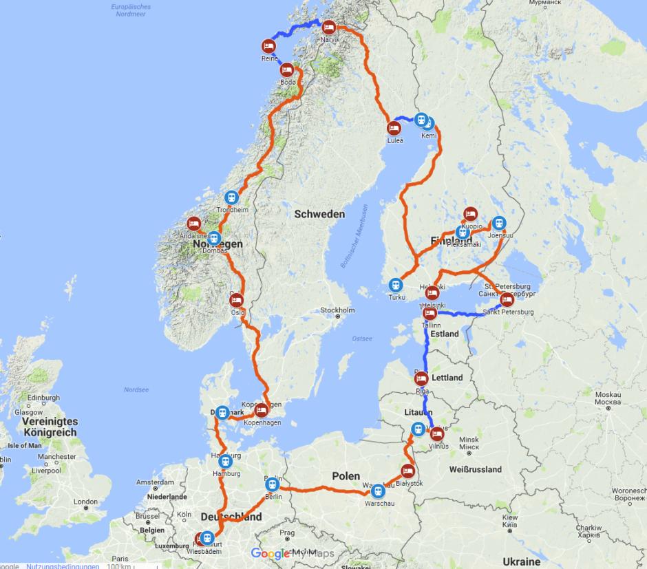 Meine geplante und teils schon absolvierte Route um die Ostsee.