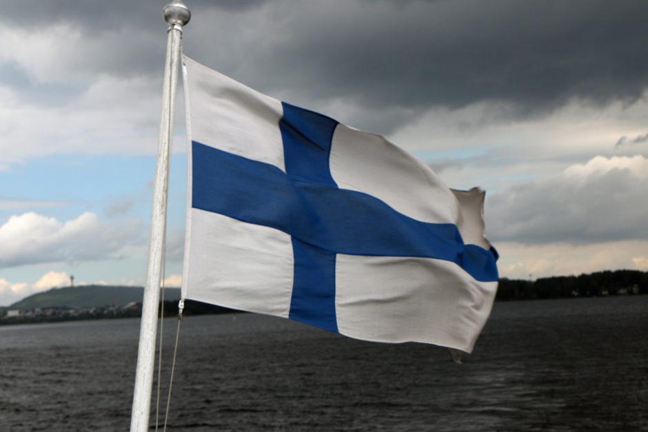 Ein Foto mit finnischer Flagge darf natürlich auch nicht fehlen!