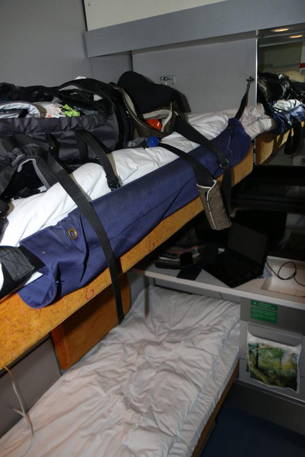 Später habe ich dann doch im oberen Bett geschlafen. Der Rucksack wanderte ins untere Bett.