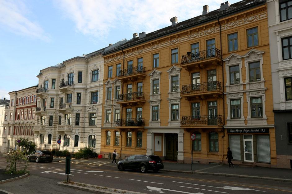 Mein Viertel in Oslo. Anders als in Trondheim gab es kaum Holzhäuser.