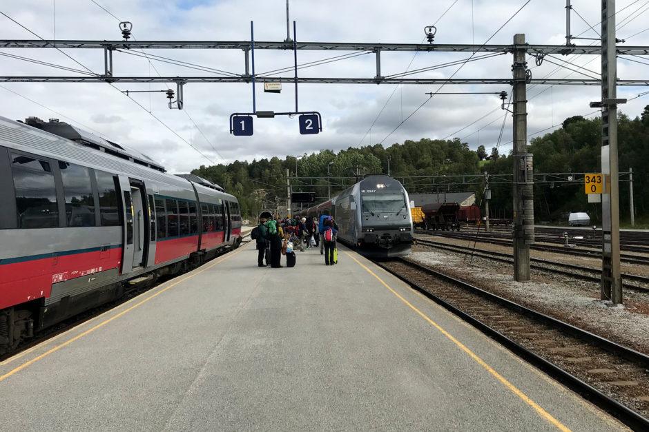 Mein Zug links und der einfahrende IC nach Oslo rechts.