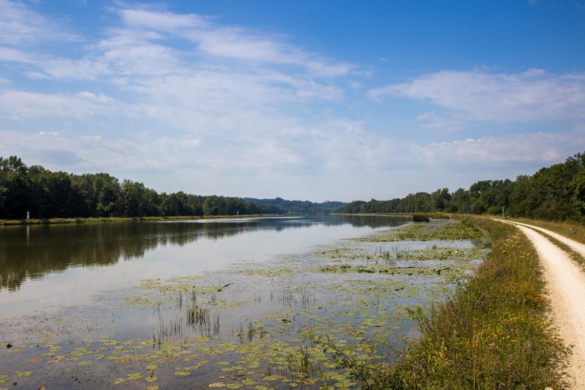 Entlang der Donau gibt es viele Wasserkraftwerke. Dazu wird der Strom des Flusses wie hier bei Gundelfingen aufgestaut.