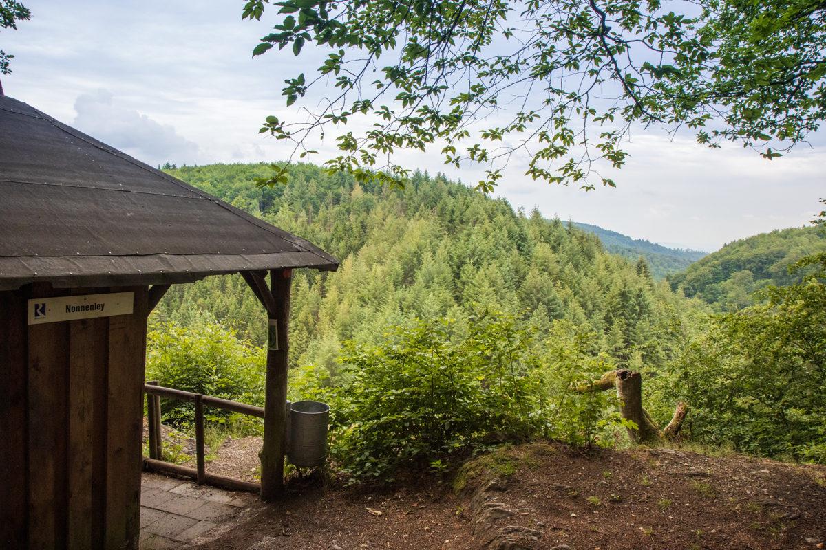 An der Aussichtshütte Nonnenley kann man seit 150 Jahren Waldbaden.