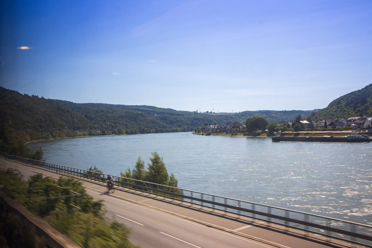 Auf der Heimfahrt im Zug - natürlich stets am Rhein entlang.