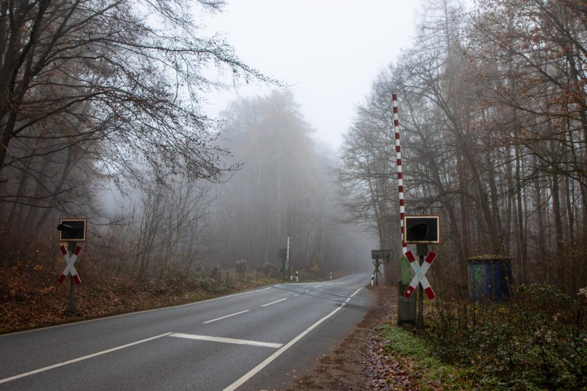 Am Bahnübergang mit der Wenzel-Jaksch-Straße tritt die Strecke kurz zum Vorschein.
