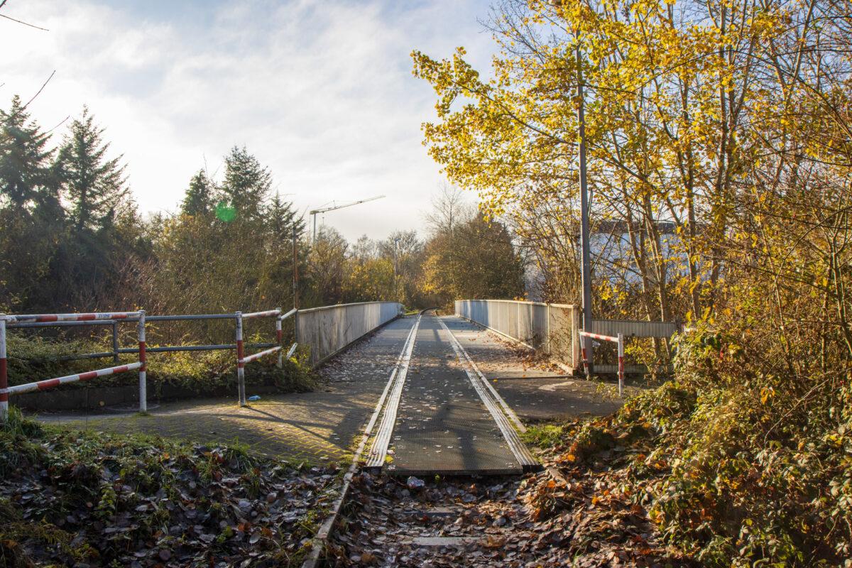 Bahnübergang und Fußgängerbrücke über die B54 in einem.