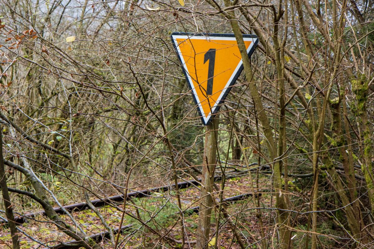 Langsamfahrstellen wie diese findet man einige auf der Strecke. Der folgende Abschnitt durfte nur mit 10 km/h passiert werden.