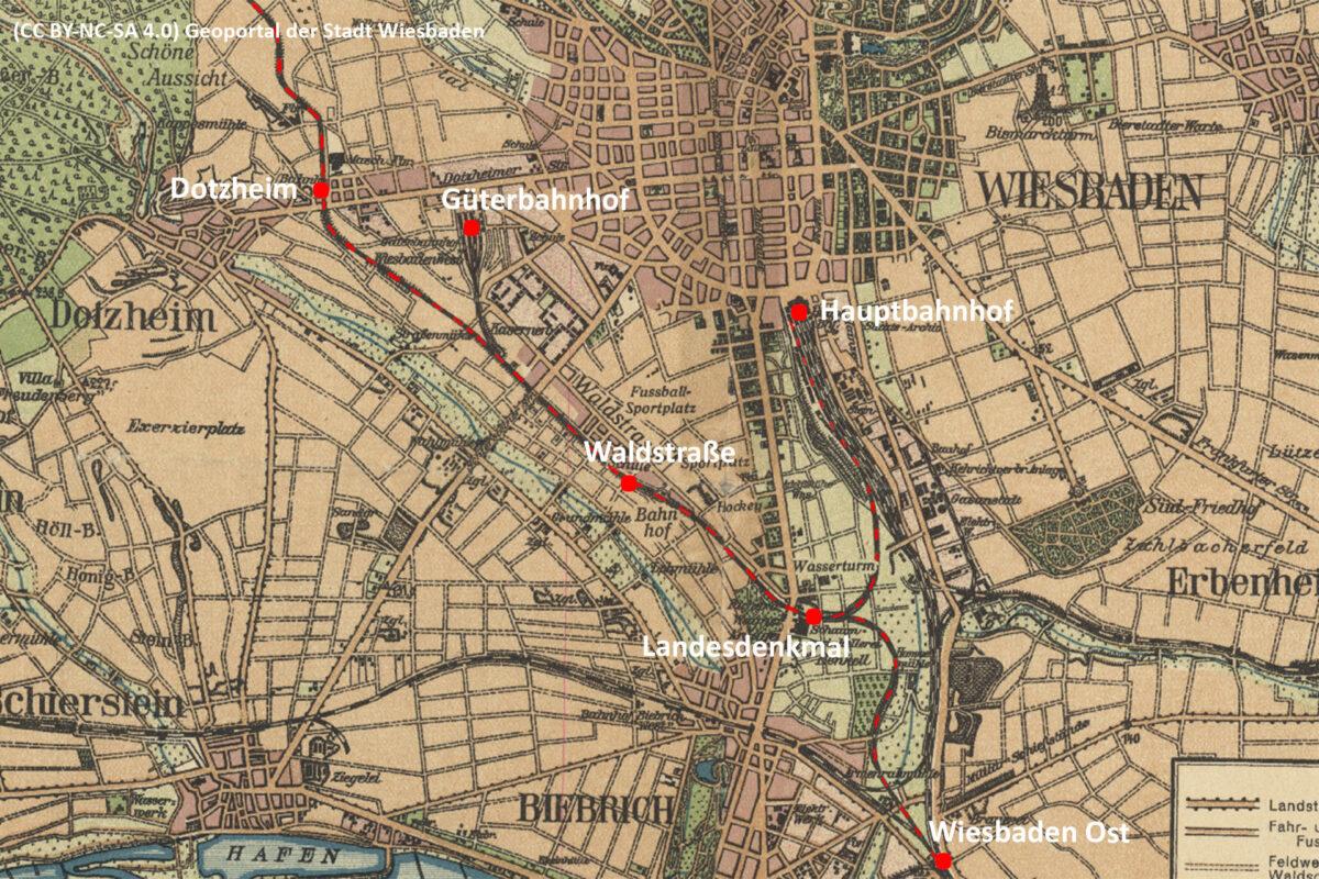 Der Verlauf der Aartalbahn im Wiesbadener Stadtgebiet (CC BY-NC-SA 4.0 | Karte von 1925 | Geoportal Stadt Wiesbaden)