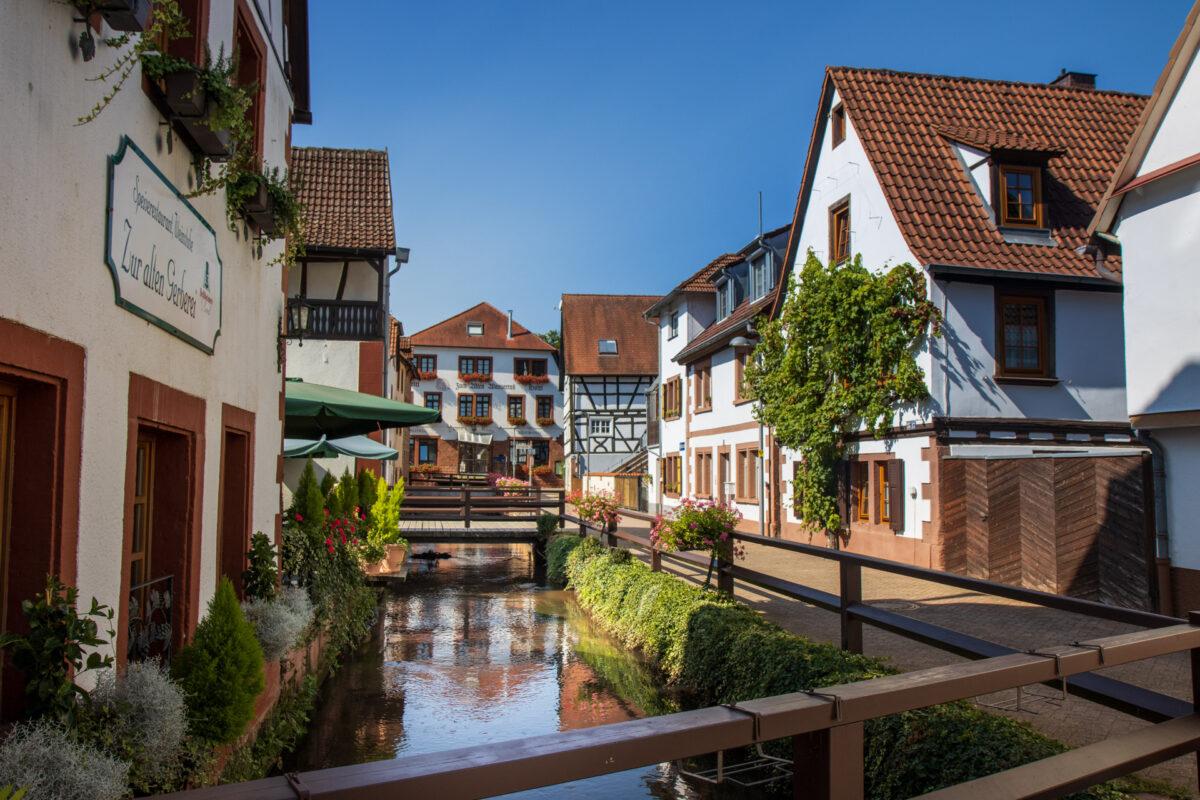 Das Flüsschen Queich, fließt durch die idyllische Wassergasse in Annweiler.