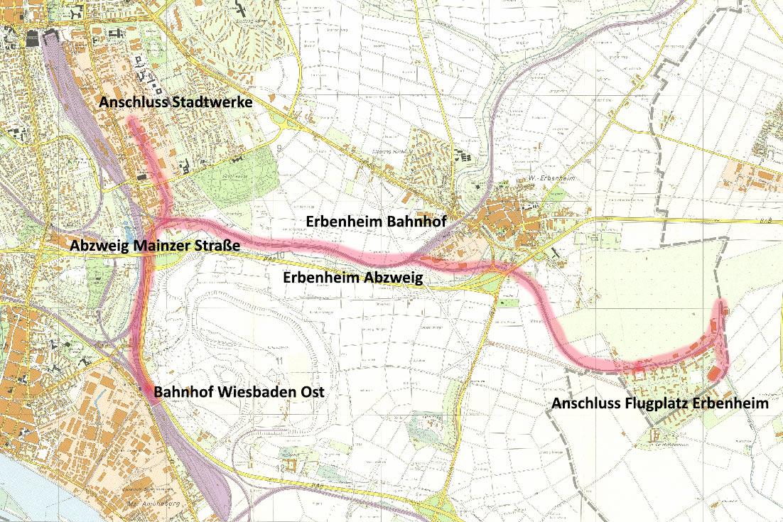 Die im Blogpost betrachtete Strecke von Wiesbaden Ost zum Erbenheimer Flugplatz (Karte von 1954) (Quelle: Geoportal der Stadt Wiesbaden, CC BY-NC-SA 4.0)