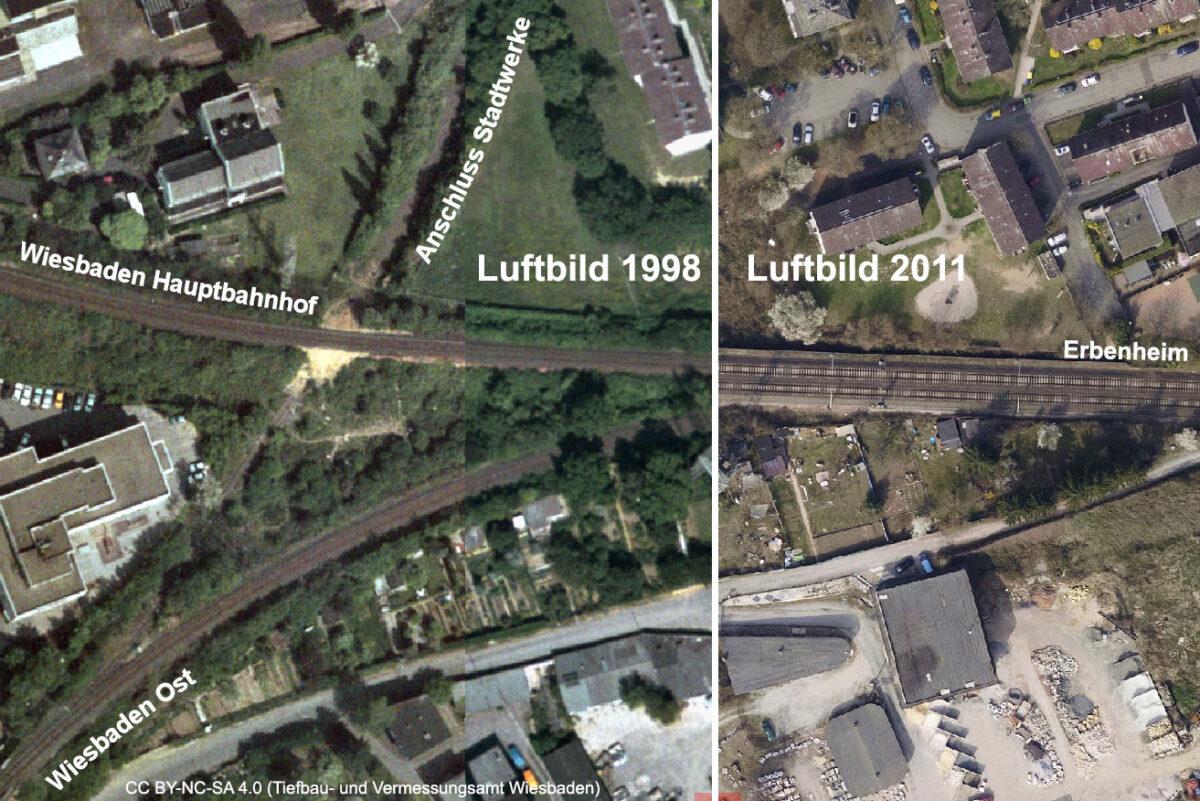 Die Ländchesbahn und das Anschlussgleis zum Flugplatz am Abzweig Mainzer Straße im Laufe der Zeit. Links ein Luftbild von 1998, rechts eins von 2011. (Quelle: Geoportal der Stadt Wiesbaden, CC BY-NC-SA 4.0)