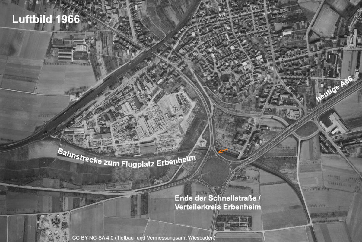 Ein Blick in der Vergangenheit, Im Jahr 1966 endet die heutige A66 noch in Erbenheim. (Quelle: Geoportal der Stadt Wiesbaden, CC BY-NC-SA 4.0)